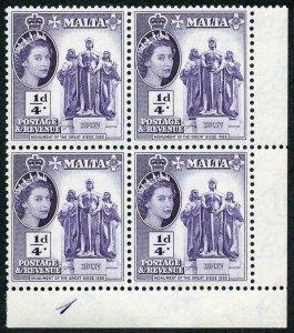 Malta SG266 1/4d Violet Plate 1 U/M Block