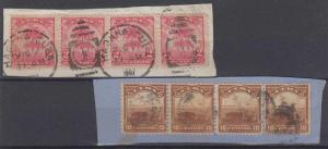 SPANISH ANTILLES 1907 Sc 228 & 231 TOP VALUE STRIPS OF FOUR DUPLEX & MUTE PTMKS