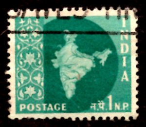 India 1np Map of India 1960 SG.399, Sc.302 Used (#06)