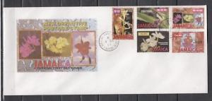 Jamaica, Scott cat. 873-877.  Orchids Definitive issue. Long First day cover. ^