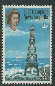 St. KITTS-NEVIS-Scott 145-QEII -Definitives-1963- MNH - Single 1/2c Stamp