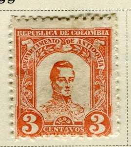 COLOMBIA ANTIOQUIA; 1899 early Bolivar issue Mint hinged 3c. value