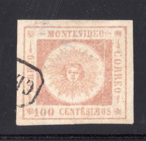 Uruguay classic Sun #15 USED TYPE 3 VF-XF DIE VARIETY investment in rare stamps