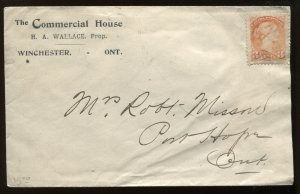 Canada 3 Cent Small Queen tied by 1900 cacheted Winchester ON cover to Port Hope