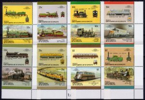 Bequia 1987 TRAINS LOCOMOTIVES (8) Pairs 16 values Perforated Mint (NH)