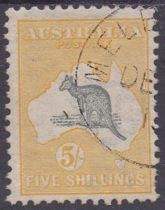 AUSTRALIA 1913 KANGAROO 5/- 1ST WMK CTO