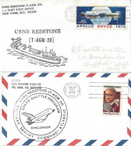 USNS Redstone T-AGM 20  1975, 1985 Space Shuttle/Challenger    US Naval Covers