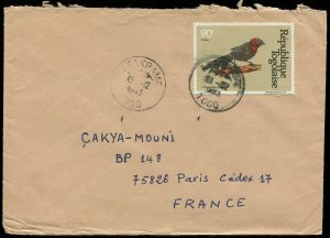 Togo 1983 Widowbird Stamp on Cover (337)