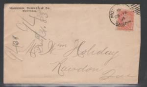 Canada Sc 41 on 1894 Hodgson, Sumner cover to Rowdon, QC