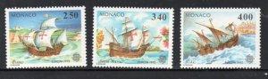 Monaco Sc  1814-16 1992  Europa stamp set mint  NH