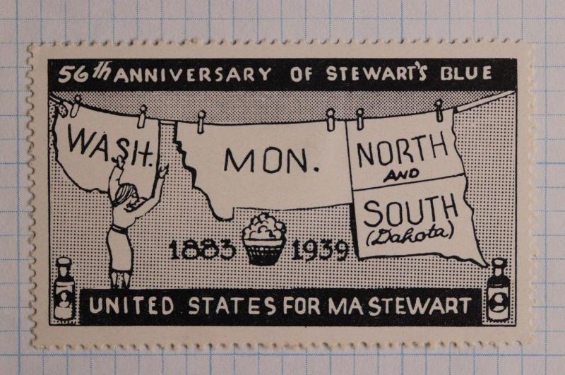 Mrs Ma Stewart 56th Blue soap laundry advertising poster US stamp state map Wash