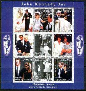Turkmenistan 1999 John Kennedy Jnr #1 perf sheetlet conta...