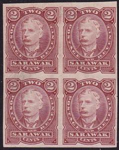SARAWAK 1895 2c brown colour trial IMPERF block of 4.......................70273