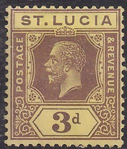St Lucia 1921 - 30 KGV 3d Purple & Yellow MM SG 100 ( H1142 )