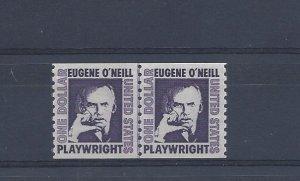 United States, 1305C, $1 Eugene O'Neill Coil Line Pair Shinny Gum, MNH