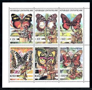 [77258] Central African Rep. 1990 Scouting Butterflies Miniature Sheet MNH