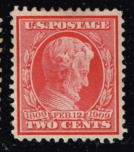 US STAMP # 367 2c 1909 Lincoln Memorial MH/OG