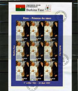 Burkina Faso 1998 Pope John Paul II Princess Diana Sheet Imperforated in FDC