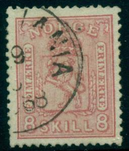 NORWAY #15a (15b) 8sk CLEAR PRINTING, used, VF, APS certificate, Scott $550.00