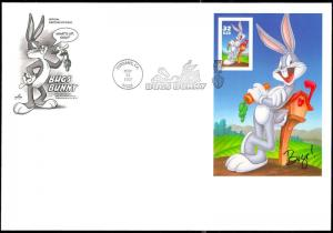 3138, BUS BUNNY IMPERFORATE PANE ON FIRST DAY COVER