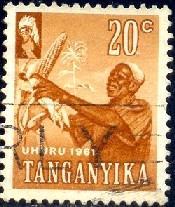 Harvesting Corn, Tanganyika stamp SC#48 Used