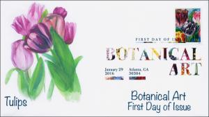 2016, Botanical Art, FDC, Digital Color Postmark, Tulips, 16-028