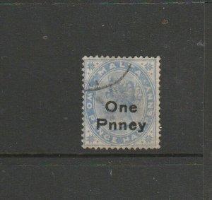 Malta 1902 ONE PNNEY opt Dull Blue FU SG 36b