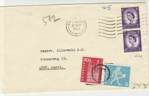 England to Switzerland 1967 Postings to Pay Bolton Cancel Stamps Cover Ref 25258