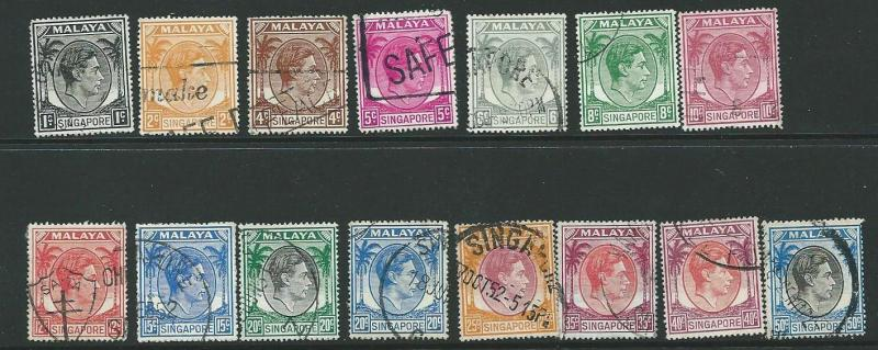 SINGAPORE SG16/27 1948 DEFINITIVES TO 50c  USED