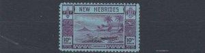 NEW  HEBRIDES  1938    S G  63  10F  VIOLET & BLUE      MH   CAT £225