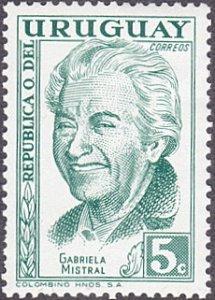 Uruguay # 640 mnh ~ 5¢ Gabriela Mistral, Poet