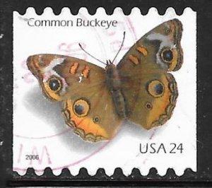 USA 4001: 24c Common Buckeye, used, VF, off paper