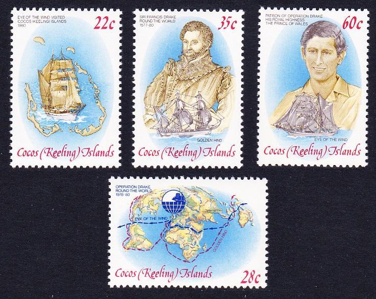 Cocos Island MNH 61-4 Map &Ship & Drake 1980