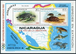 Nicaragua Mi 2109-2110 Bl.114,MNH. Turtles.Olympics Lake Placid-1980,Moskow-1980