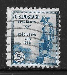 USA 734: 5c Statute of General Tadeusz Kosciuszko, used, F-VF