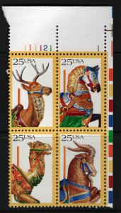 US  2418a    MNH CAROUSEL ANIMALS , PLATE BLOCK 1988