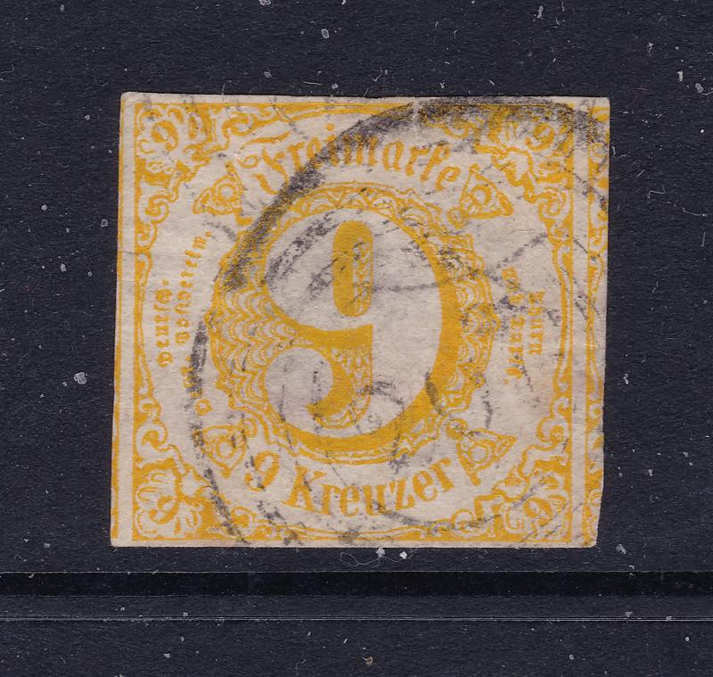 Thurn & Taxis a used 9 Kr yellow imperf