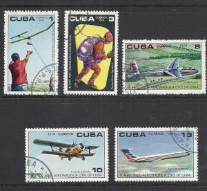 CUBA Sc#1925-1929 CIVIL AERONAUTICAL INST Aviation planes CPL SET of 5 1974 used