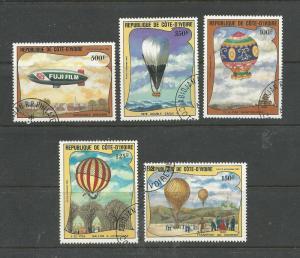 Ivory Coast Scott catalogue # C71-C75 Used