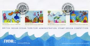 BIOT Brit Indian Ocean Ter 2018 FDC IYOR Int Yr of Reef 4v Cover Marine Stamps
