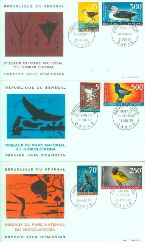 87584 - SENEGAL -  Postal History -  Set of 3 FDC COVERS 1968  - BIRDS