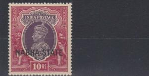 INDIA  NABHA 1938    S G 92  10R  PURPLE & CLARET     MH  CAT £65