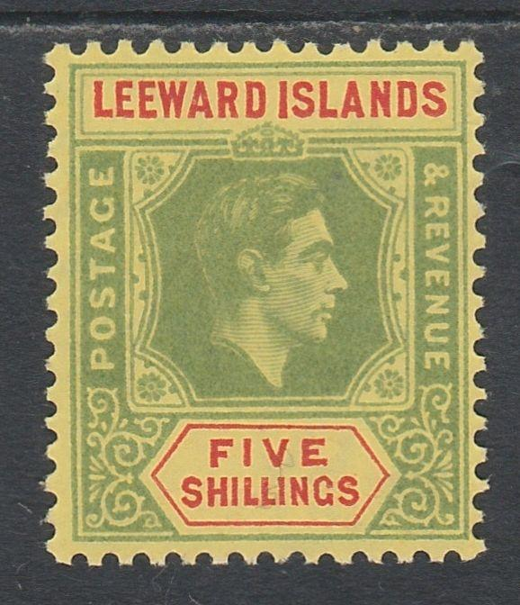 LEEWARD ISLANDS 1938 KGVI 5/- MNH **