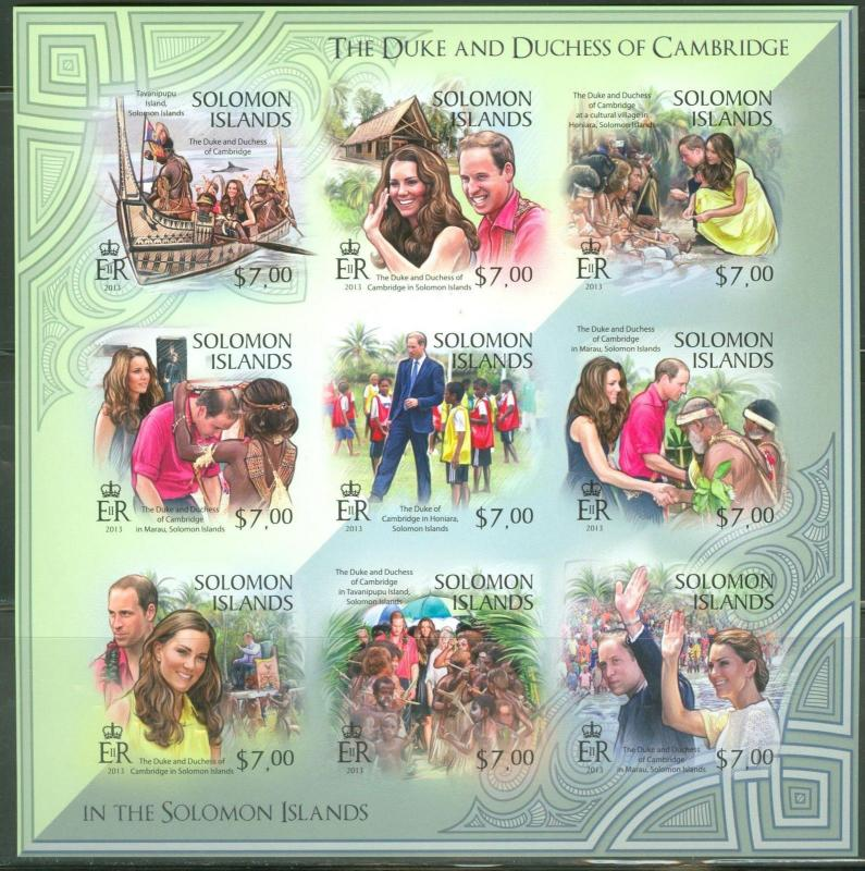 SOLOMON ISLANDS 2013 DUKE OF CAMBRIDGE WILLIAM AND KATE SHEET OF 9 II IMPERF