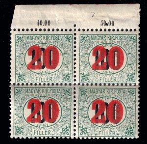 Hungary 1915 postage due, Sc. J27a, scarce wmk. Block of 4 MNH f