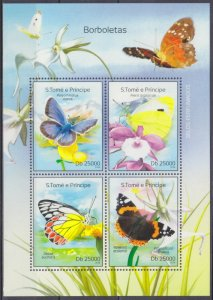 2014 Sao Tome and Principe 5579-82KL Butterflies 10,00 €