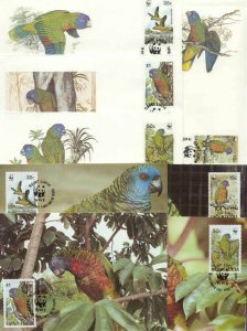 St.Lucia 8 FDC/cards WWF/Birds(Parrots) 1987