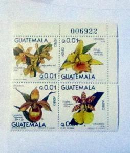 Guatemala - C655a, MNH Block of 4. Flowers. SCV - $20.00