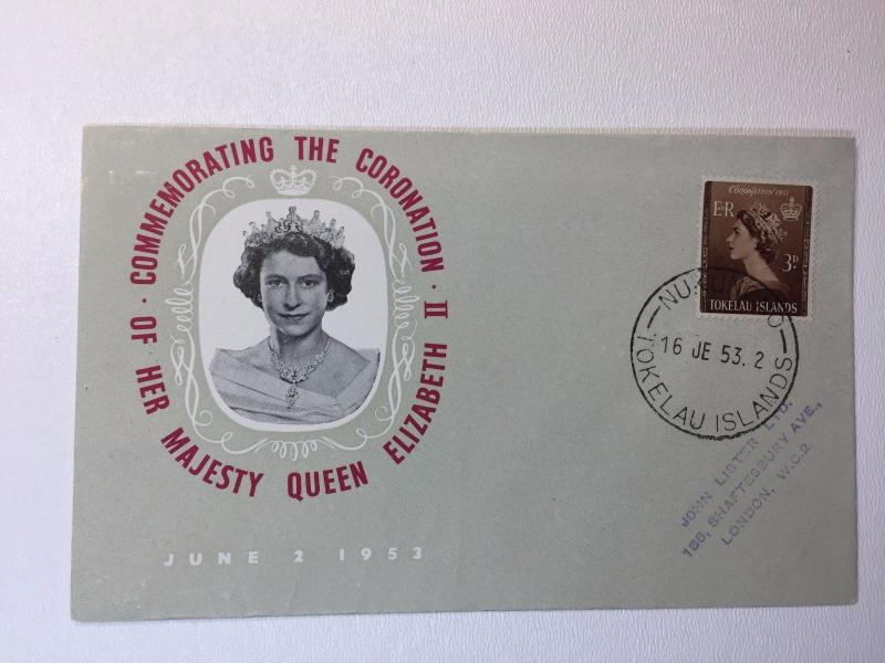 Tokelau Islands FDC Cover Queen Coronation 1953 sg#4 cachet photo