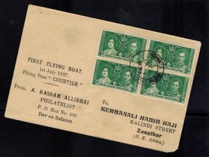 1937 Dar es Salaam Tanganyika KUT FFC First Flight Cover to Zanzibar Coronation